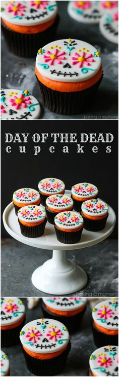 Day of the Dead Cupcakes: so colorful & so much fun for Halloween! food desserts cupcakes via @bakingamoment