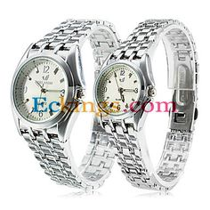 Pair of White Face Alloy Analog Quartz Couple??? Watches (Silver) : Online Shopping for Watches, Toys & more