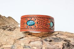Leather Dog Collar // Genuine Turquoise Hand Stamped Shearling