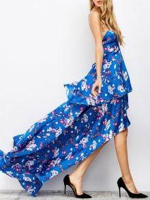 Criss Cross Floral Tiered Maxi Dress - Blue S