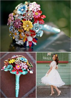 Vintage Wedding Bouquets made out of brooches! Love! Wish I would have seen this a year ago...