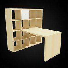 Ikea Expedit Bookcase and Desk Ikea Desk Top, Ikea Malm Desk, Ikea Workspace, Ikea Expedit Bookcase, Ikea Regal Expedit, Ikea Office, Bookcase Shelves, Bookcase White, Kallax