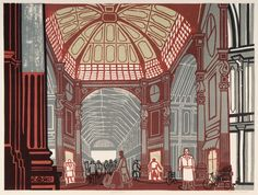 Leadenhall Market, lithograph after linocut - London through the eyes of illustrator and graphic designer Edward Bawden History Of Illustration, Graphic Illustration, London Design Week, Pretty Drawings, Royal College Of Art, London Art, Print Artist, The Guardian, Printmaking