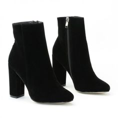 Presley Ankle Boots in Black Faux Suede (61 CAD) ❤ liked on Polyvore featuring shoes, boots, ankle booties, botas, ankle boots, heels, high heel booties, high heel bootie, black booties and black heeled boots