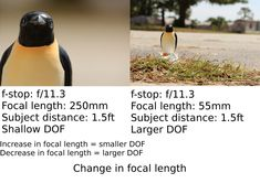 Change in focal length