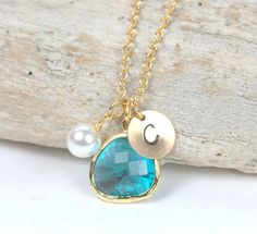 December Blue Zircon Birthstone Personalized Gold Necklace by Theresa Rose Designs