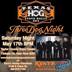 Abilene is going HOG wild! Join the Harley Owners of Texas this Saturday night at the Taylor County Expo Center for the Three Dog Night Concert! HOGWALK will take place Thursday from 6-9 and you can line Sth 1st for the HOG parade from Dyess to the Expo Center!