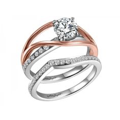 Romantic Styling 14 Karat Rose And White Gold Diamond Ring With 18 Round Diamonds Channel 0.22 Carat  SI1 G/H (Displayed With 1.00 Carat Center Stone ...