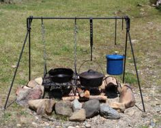 This heavy duty, all steel, campfire cooker is easy to use and simple to set up. The grill and arms rotate 360 degrees and move up and down at any position with ease. It consists of 7 pieces which includes the cook pole, two adjustable dutch oven or pot holders, bbq grilling grate, adjusting handle and the ground stake with spud, which secures the cook pole into the ground. The solid steel construction of this cooking unit will last a lifetime. The grill is 14x 16 heavy gauge expanded metal…