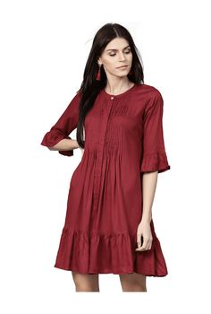 00b62ddc9ca Buy Jaipur Kurti Maroon Self Print Above Knee Dress for Women Online   Tata  CLiQ