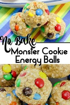 Kids Meals These No-Bake Monster Cookie Oatmeal Energy Balls are so easy to make and are the perfect healthy after school snack. They are packed with protein and only have 4 ingredients, peanut butter, quick oats, honey and your add ins (we used M Gourmet Recipes, Snack Recipes, Fun Recipes For Kids, Dessert Recipes, Protein Recipes, Muffin Recipes, Dinner Recipes, Cooking Recipes, After School Snacks