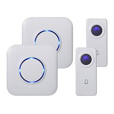 Skypoint Expandable Wireless Doorbell Alert System, Multi-Unit Base Starter Kit includes 2 Long Range Plug in Receivers and 2 100% Waterproof Transmitter Buttons, Model SBase (White with UK Plug)