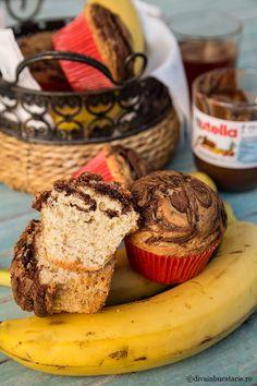 BRIOSE CU BANANE MARMORATE CU NUTELLA | Diva in bucatarie Nutella, Muffin, Breakfast, Food, Banana, Morning Coffee, Essen, Muffins, Meals