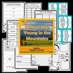 When I was Young in the Mountain is the autobiography about Cynthia Rylant's childhood, and this updated unit includes before/during/after activities for prereading, vocabulary, making connections, making comparisons between life today and Cynthia Rylant's childhood, summarizing, questioning, story plot, writing activities, and a culminating project.