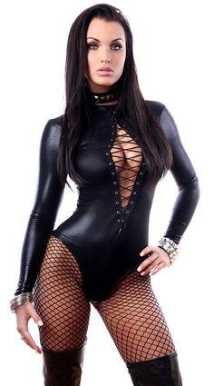 高品質の女性の セクシー な フェ イク レザー ラテックス ランジェリー下着ロング スリーブ レース アップ ゴシック パンク エロ クラブ ウェア衣装