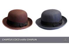Confere aí: CHAPÉUS COCO, estilo CHAPLIN, nas cores marrom e cinza estão de R$55,00 por R$25,00 cada!    Eles estão disponíveis na nossa loja virtual em www.casadatraca.com.br