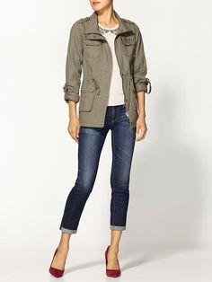 I LOVE this military style jacket with the simple look, cuffed jeans, and popped with the heals!