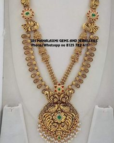 Classic Gold Necklace From Sri Mahalakshmi Gems And Jewellers ~ South India Jewels Gold Temple Jewellery, Gold Wedding Jewelry, Gold Jewelry, Gold Bangles Design, Gold Jewellery Design, Jewelry Design Earrings, Necklace Designs, Antique Jewellery Designs, Classic Gold