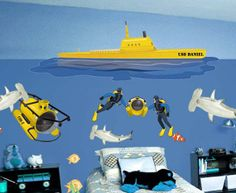 Boys Custom Mural Personalized Submarine Wall by CreateAMural, $117.00