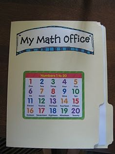"""math office"" - file folder with hundreds chart and other math stuff inside for the kids to reference"