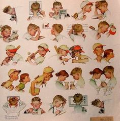 """""""A Day In The Life Of A Boy"""" by Norman Rockwell (1894 – 1978, American)"""