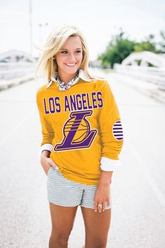 LOS ANGELES LAKERS Elbow Patch Tee