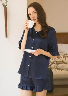 This comfy pajamas set is an off-duty essential for a successfully lazy day. Delicate design with flounce trim and crew neck will make you look nifty and younger.Meanwhite,it will help you achieve deep and quality sleep. Pajamas For Teens, Cute Pajamas, Silk Pajamas, Pajamas Women, Comfy Pajamas, Satin Pyjama Set, Pajama Set, Night Suit For Women, Womens Pyjama Sets
