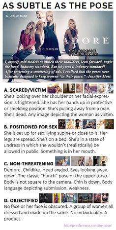 "The poses in advertising are basically designed to keep women ""in their place."" I created four categories of poses in which most of the ads I reviewed fell into one or more."