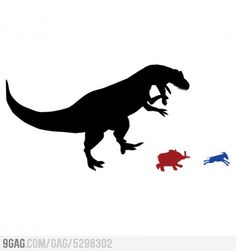 The T-Rex as a third political party mascot. I vote yes.