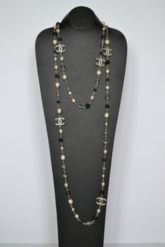 View this item and discover similar for sale at - Chanel necklace Sautoir Pearls One or two row Silver stainless steel Costumes pearls Molten glass Grey, light blue and white tones CC logo with Swarovski Long Pearl Necklaces, Pearl Jewelry, Vintage Jewelry, Jewelry Necklaces, Beaded Necklace, Silver Jewelry, Bracelets, Bracelet Chanel, Chanel Jewelry
