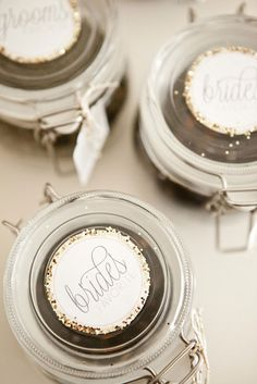 Good idea for Favors, jar with the brides favorite tea blend. The Perfect Blend | Dessert Table Inspiration | stying by Created Lovely Events.