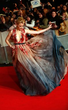 Elizabeth Banks at the world premiere of The Hunger Games: Mockingjay Part 1, in London's Leicester Square on November 10, 2014.  That dress though wow.