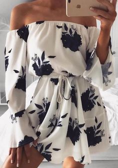 Fashionable Floral Print Off Shoulder Short Mini Dress will give you the beautiful summer time.# off shoulder dress