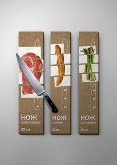 "LOVE the ""cut"" sticker wrapped around the box-probably expensive production work, but gorgeous. knife pack /concept/ by Igor Dudka, via Behance"