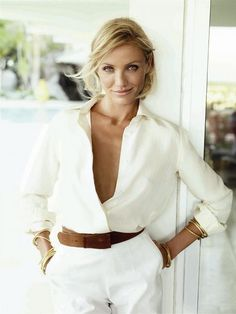 Cream button-down blouse + white pants + wide brown belt + gold bangle bracelets