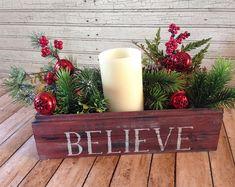 Believe Crate Farmhouse Decor Christmas Centerpiece Farmhouse Christmas Decor, Primitive Christmas, Rustic Christmas, White Christmas, Farmhouse Decor, Christmas Diy, Christmas Wreaths, Farmhouse Style, Christmas Dinning Table Decor