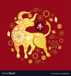 Happy chinese new year 2021 year ox flower Vector Image