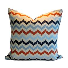 Kravet Pillow Cover Andora Citron absolutely wonderful jacquard fabric in chevron pattern with colours of chartreuse, gold, blue and platinum Orange Pillow Covers, Orange Pillows, Down Feather, Jacquard Fabric, Fabric Samples, Chevron, Colours, Throw Pillows, Pattern