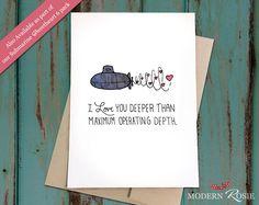 I Love You More Than Maximum Operating Depth - Submarine - Sweetheart Card - Valentine