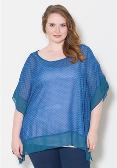Ashlynn Chiffon Poncho - Blue and Pink  Trendy Curvy | Plus Size Fashion | Fashionista | Shop online at www.curvaliciousclothes.com TAKE 15% OFF Use code: SVE15 at checkout