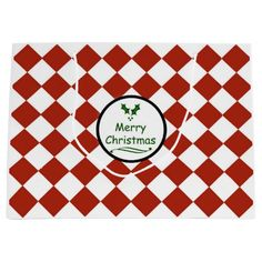 Merry Christmas with diamond pattern Large Gift Bag