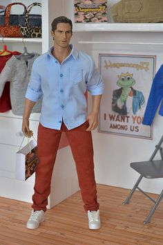 1/6 scale Hot Toys TTM 20 figure in custom made color skinny jeans and light blue shirt with real button closure