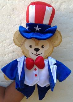 Disney 17 in Duffy Bear July 4 Uncle Sam USA Clothes Mickey Mouse Disney