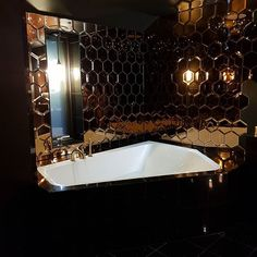 Bring some vintage charm into your home or living space with these brand new glass hexagon selections. Hexagon Tiles, Mirror Tiles, Living Spaces, Bathtub, Glass, Vintage, Home, Standing Bath, Bathtubs