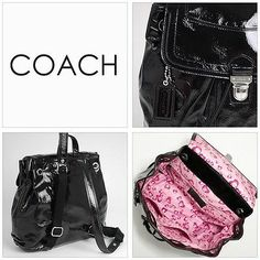 COACH BLACK POPPY PATENT LEATHER BACKPACK 17949 EXCELLENT!