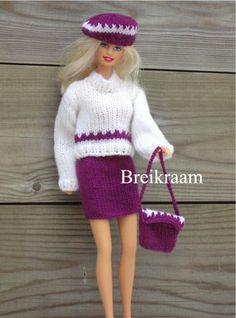 Breipatroon Barbie rokje,   truitje en tas