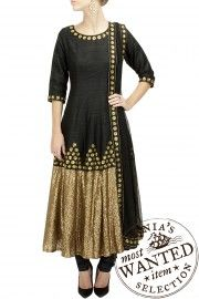 Black sequinned border anarkali set