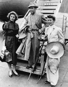 Humphrey Bogart, Katharine Hepburn and Lauren Bacall in London, 1951