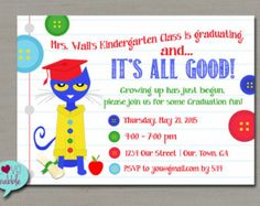 Pete the Cat Graduation Party, Back to School Party, End of the Year Party Invitation PRINTABLE DIGITAL FILE - 5x7