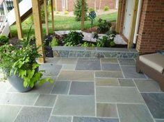 Nice slate tile patio: